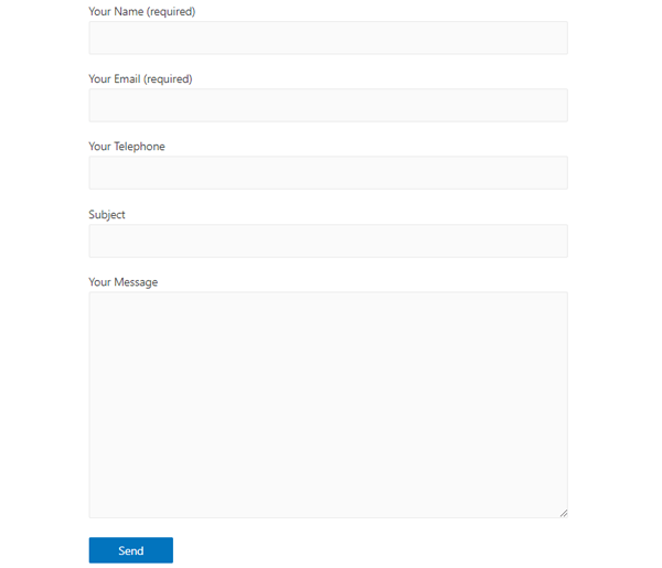 Showing the finished contact form.