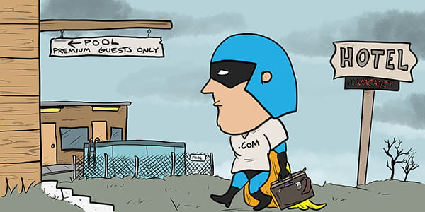 Cartoon showing Dev Man arriving at a less-than-perfect hotel