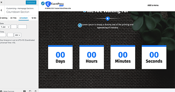 EventPress countdown.