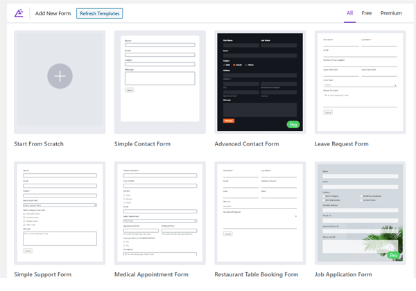 Showing the selection of templates.
