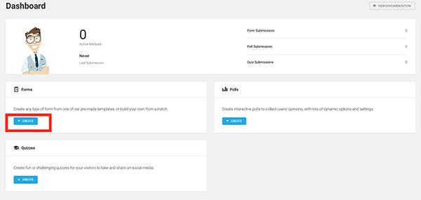 Create new form in WordPress.