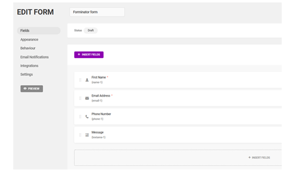 Showing the form creation interface.