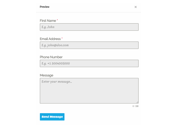 Showing an example where the fonts on the form have been changed.