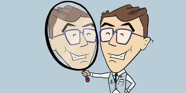 Forminator image looking in mirror.