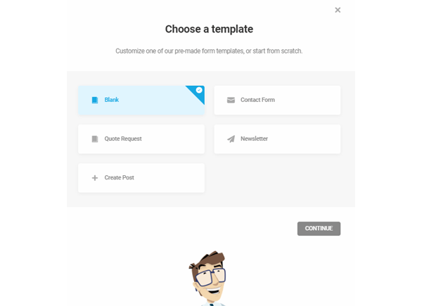 Showing the templates available with Forminator.