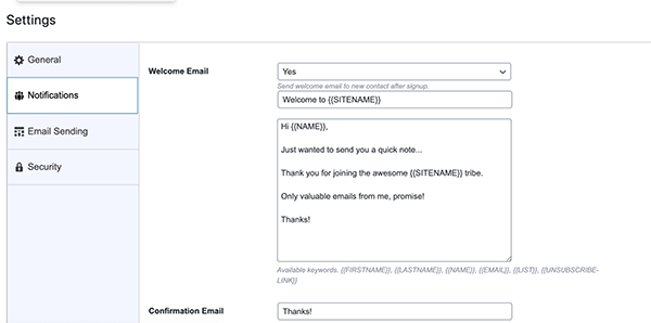 Icegram settings page.