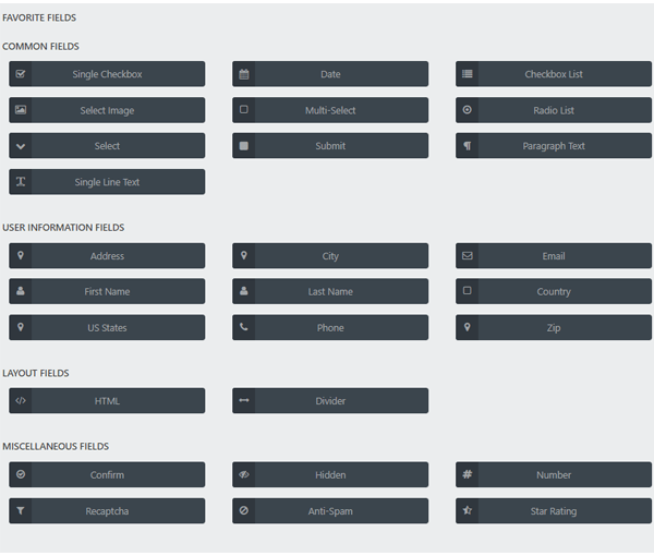 Showing the full selections of fields which are available.