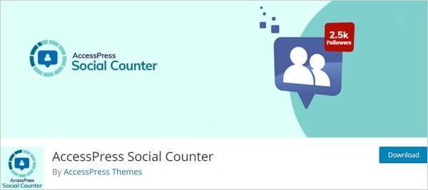 AccessPress Social Counter social media plugin for WordPress.