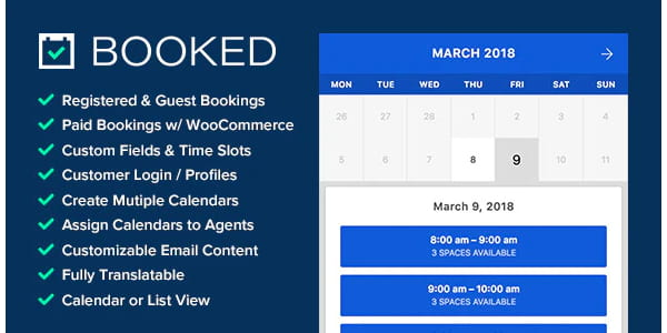 Booked - Appointment booking plugin for WordPress.