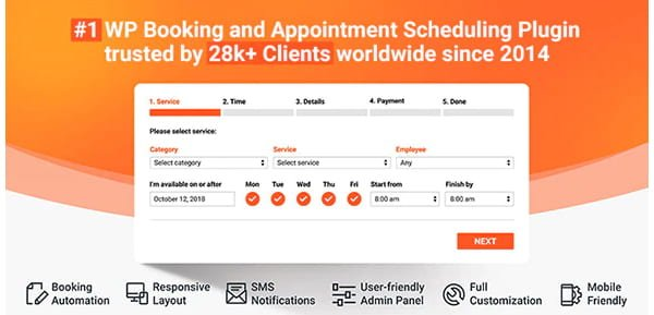 Bookly PRO – Appointment Booking and Scheduling Software System for WordPress