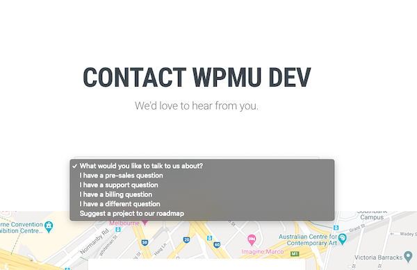 An example of our own WordPress contact form