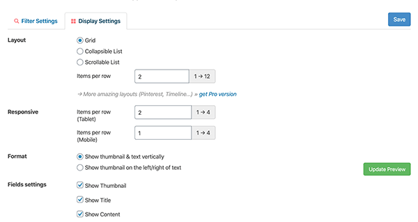 Content View display settings.