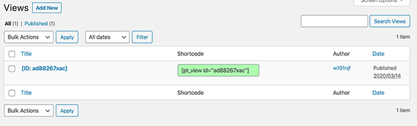 Content Views shortcode.