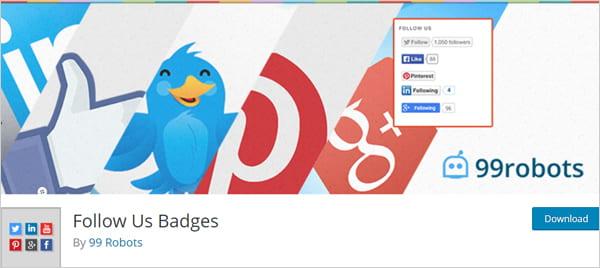 Follow Us Badges social media sharing plugin for WordPress.