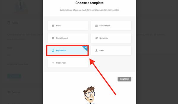 New registration form in WordPress.