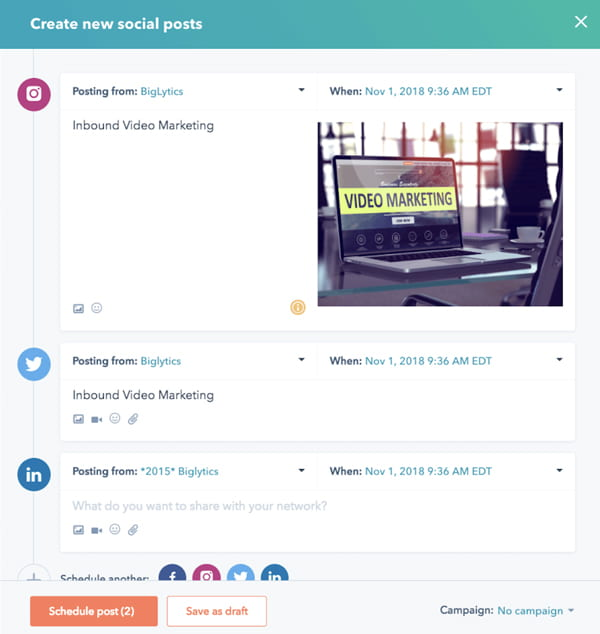 HubSpot Social Scheduling Tool