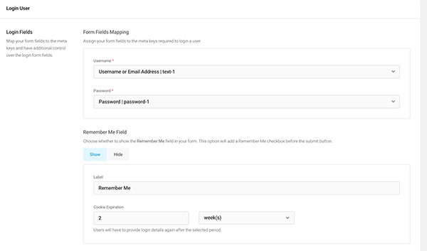 Login features for Forminator.