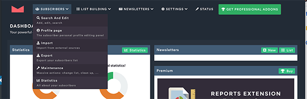 Newsletter dashboard subscribers.