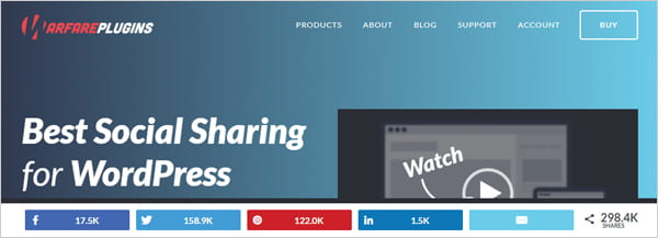 Social Warfare social share buttons plugin for WordPress.