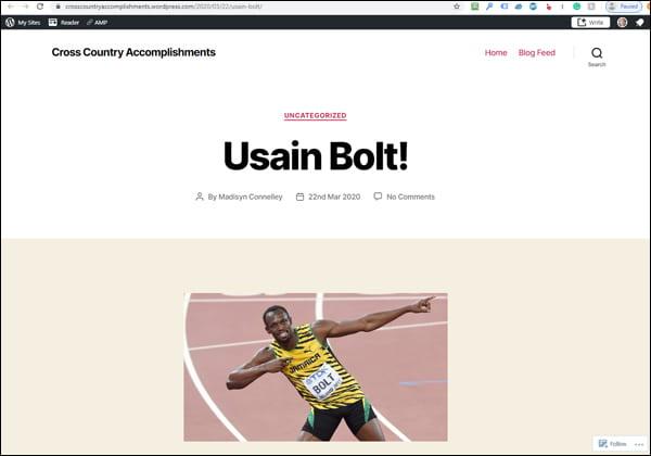 Un blog WordPress.com présentant une histoire sur Usain Bolt.