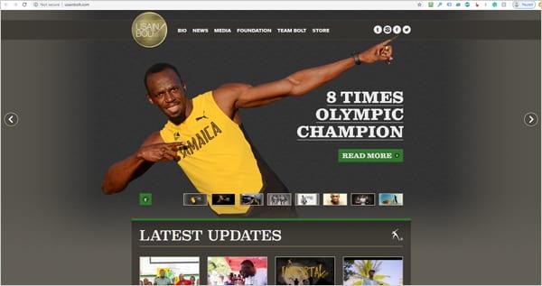 Site WordPress.org d'Usain Bolt.