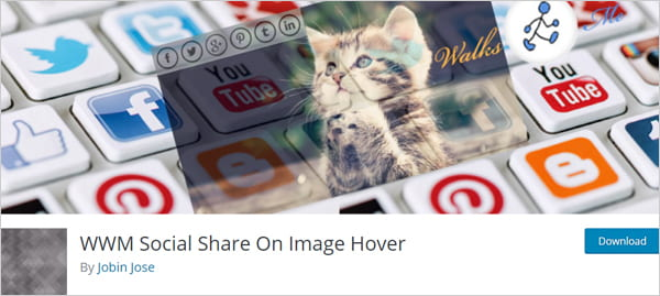 WWM Social Share On Image Hover plugin for WordPress.