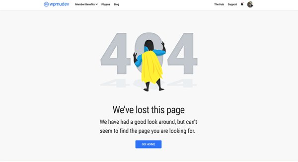 WPMU DEV 404 error page.