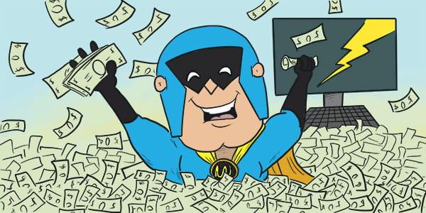 Cartoon illustration of DevMan bathing in wads of cash.