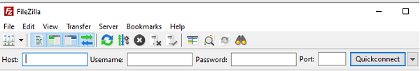 The screen where you input your credentials to connect to the host server.