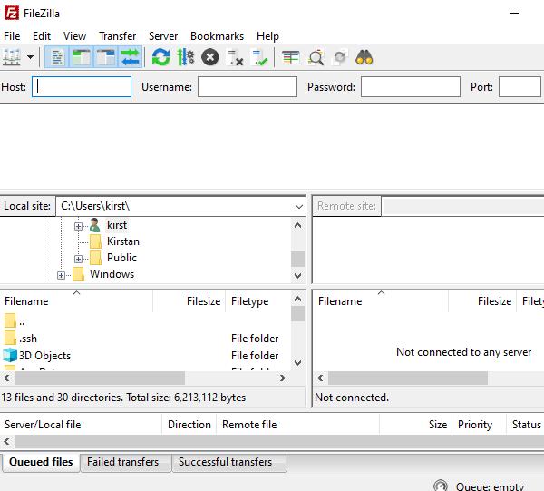 Screenshot showing the folder and file layout of Filezilla.
