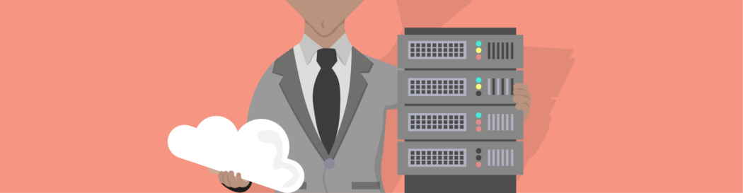 WordPress hosting feature image showing someone holding a server and a cloud.