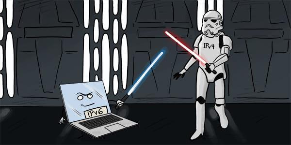 iPv6 cartoon illustration