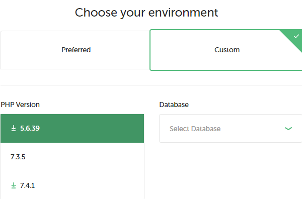 Showing where you can select your preferred version of PHP and database.