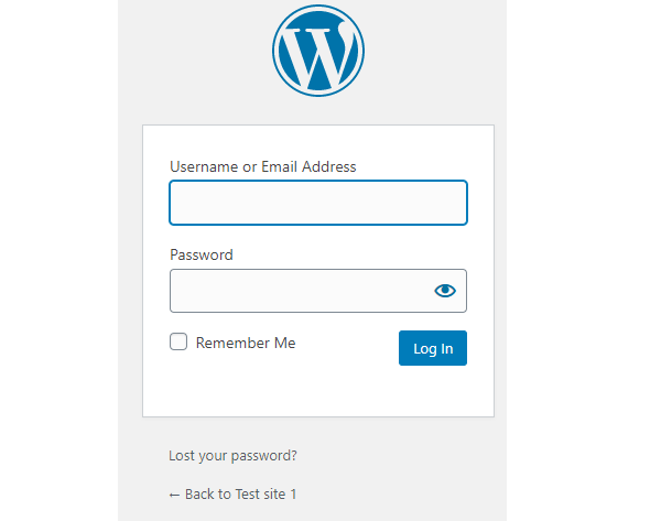 The WordPress backend login form.