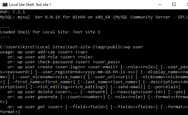 A screenshot of WP-CLI