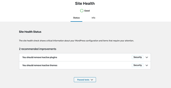 The Site Health area in WordPress.