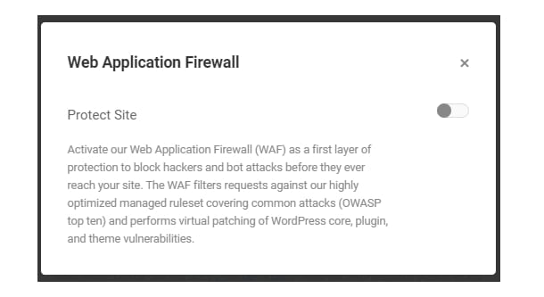 Here's where you choose whether to activate the WAF or not.