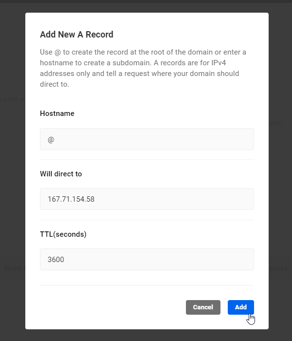 Add New A Record screen.