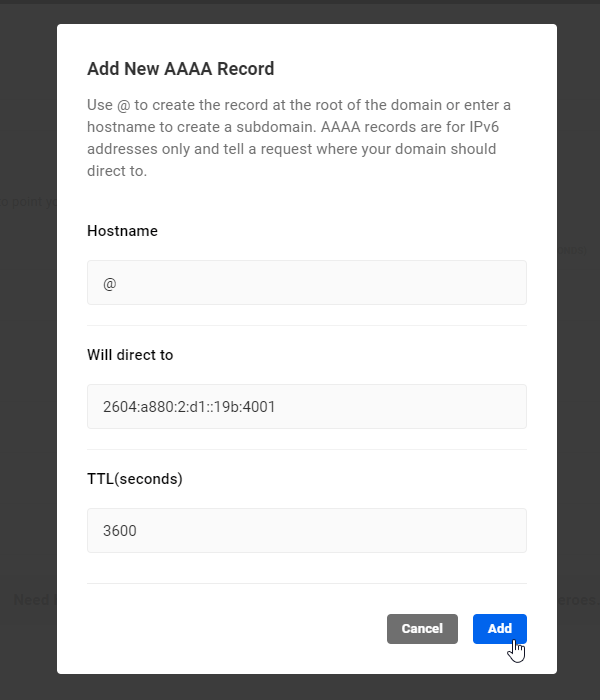 Add New AAAA Record screen.