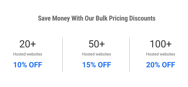 A breakdown of our hosting bulk pricing discount tiers.