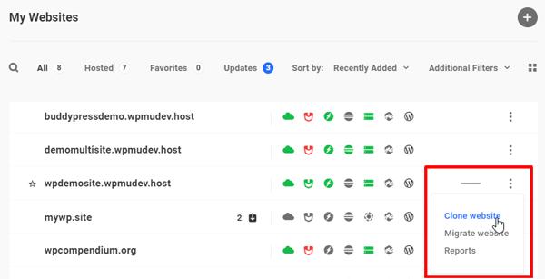 Hub - My Websites screen.