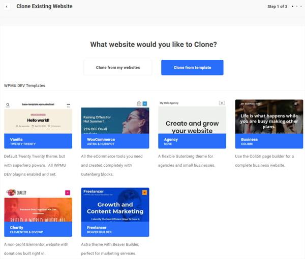 Clone Site Templates screen.