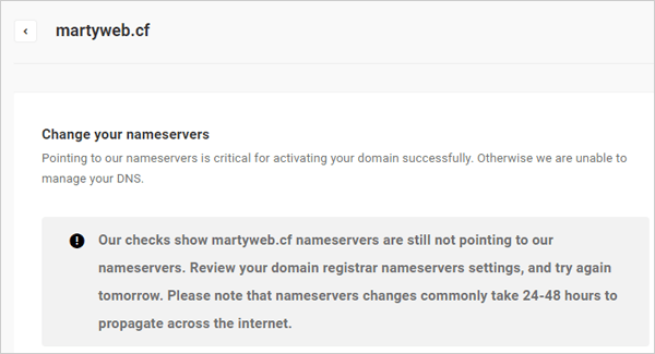 Message displayed if nameserver settings not propagated.