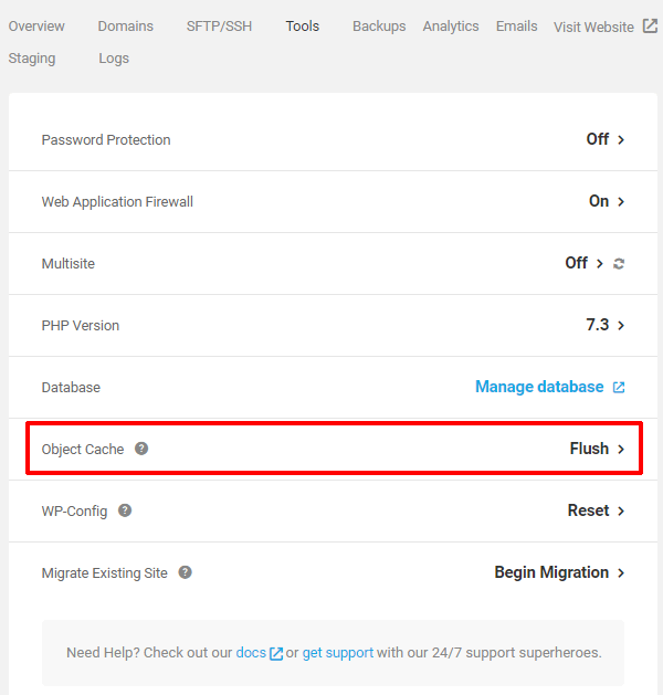 WPMU DEV hosting panel with Flush Object Cache option highlighted.