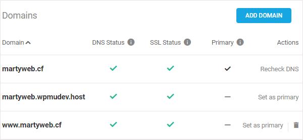 The Hub > Domains screen. Domain set up successfully!