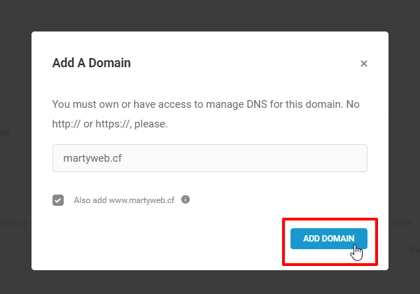 Add A Domain screen with Add Domain button highlighted.