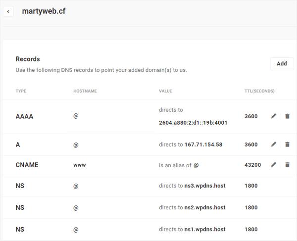 Sample DNS records screen.
