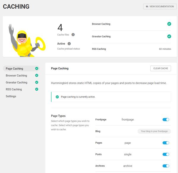 Hummingbird WordPress optimization plugin caching screen.
