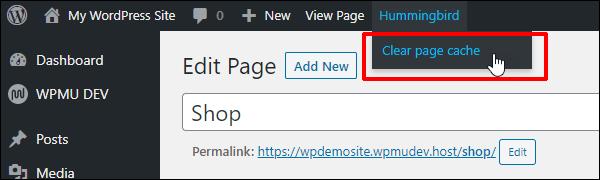 Hummingbird clear page cache menu