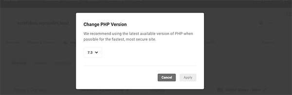 Options to change PHP.